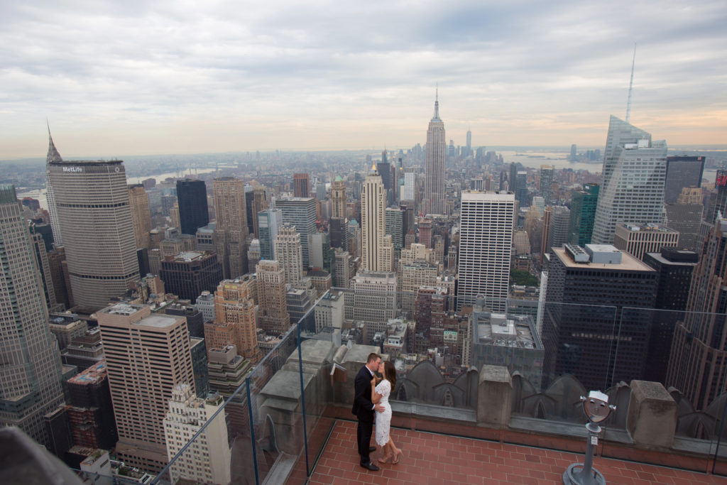 "NYC engagement session, ""Top of The Rock"" with killer view of NYC landscape"